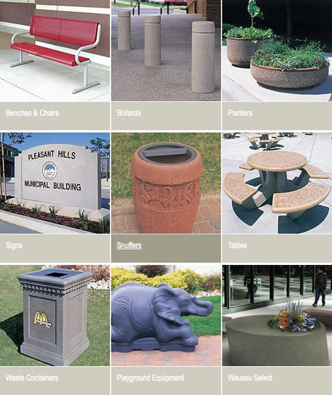 site furnishings from wausau tile on aecinfo com