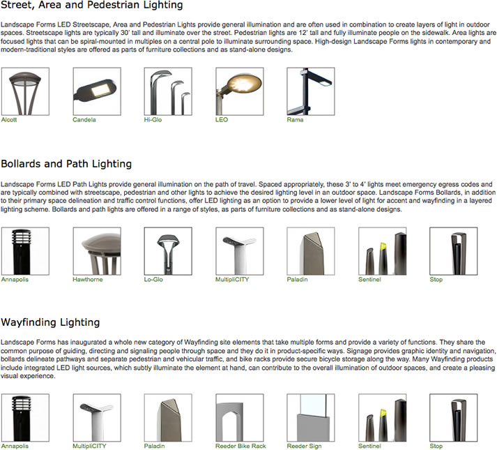 Lighting from Landscape Forms Inc. on AECinfo.com