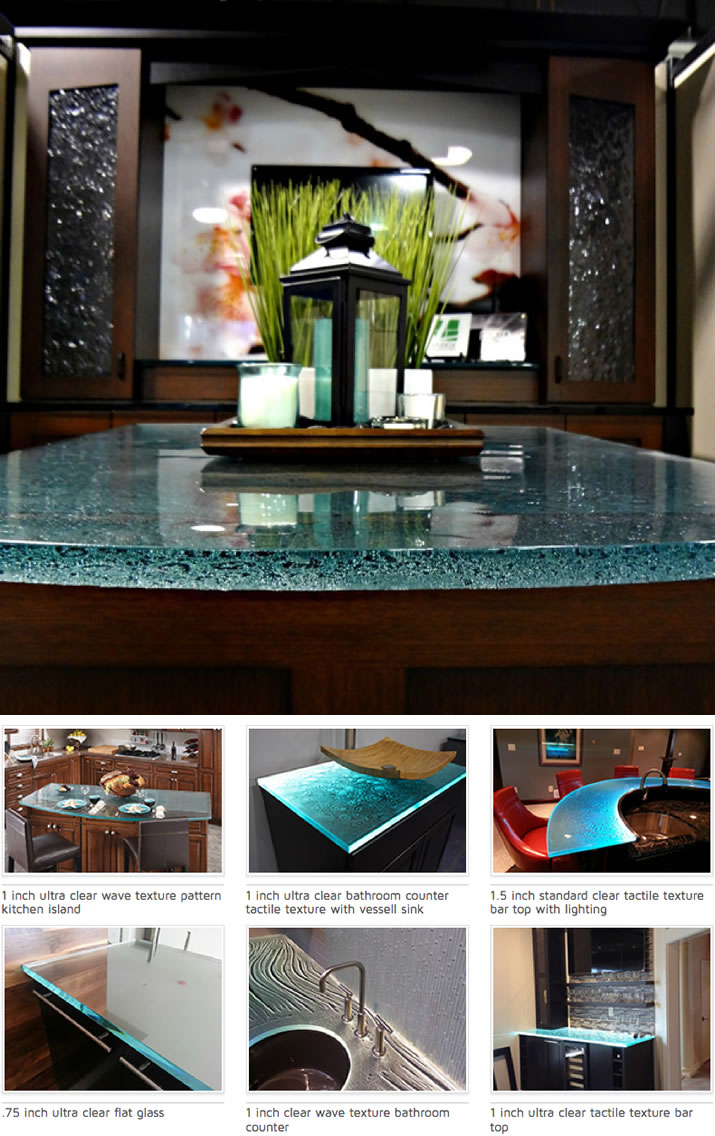 Glass Countertops for Kitchens, Bathroom Vanities and Bar Tops