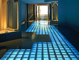 Glass block floor with pavers