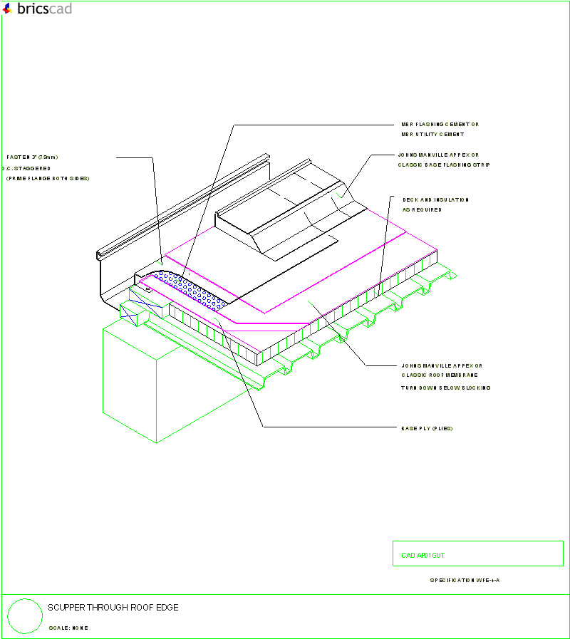 scupper through roof edge  aia cad details