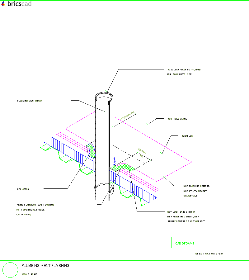 plumbing vent flashing  aia cad details