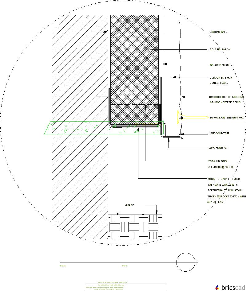 DUR711   BASE DETAIL (Z FURRING CHANNELS). AIA CAD Details
