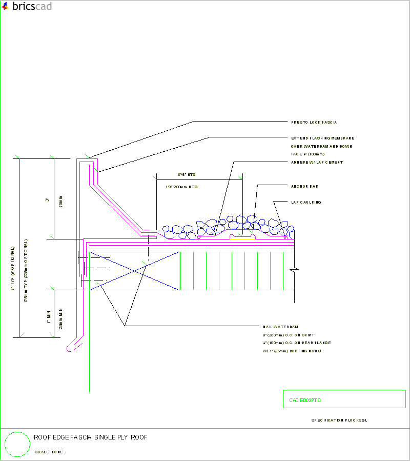 roof edge fascia single ply roof  aia cad details