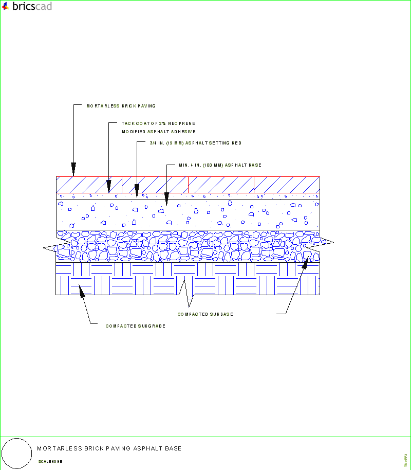 Mortarless Brick Paving Asphalt Base Aia Cad Details