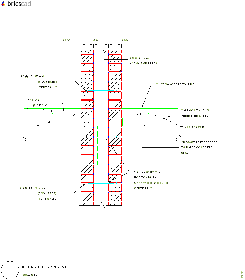 Interior Bearing Wall. AIA CAD Details  Zipped Into WinZip Format Files For  Faster
