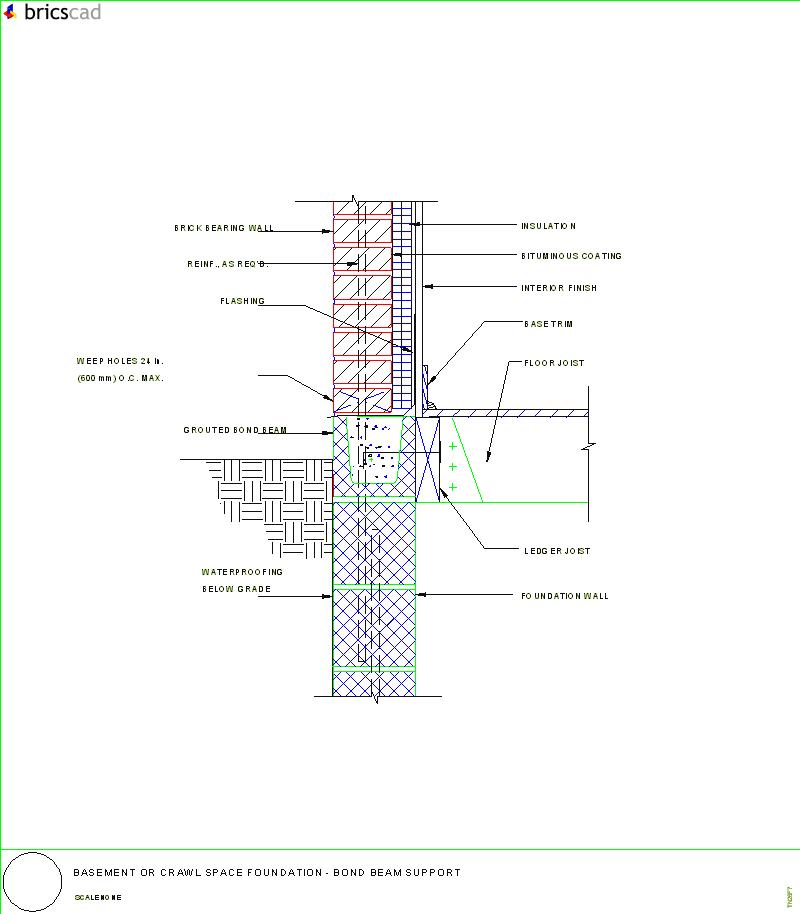 Basement or crawl space foundation bond beam support aia for Crawl space foundation design