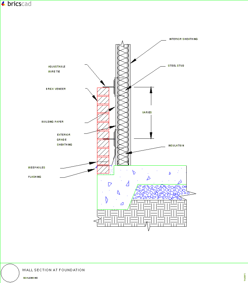 Wall Section at Foundation. AIA CAD Details--zipped into WinZip format ...