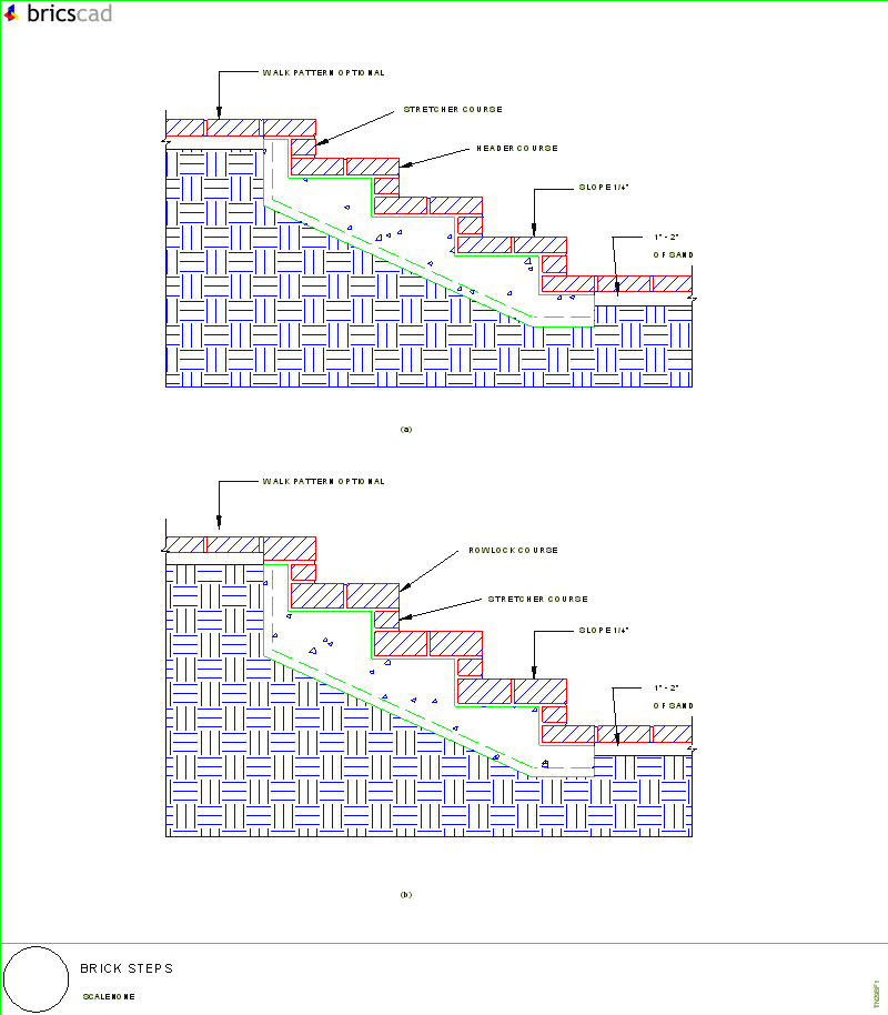 Stair Light Detail: Brick Steps. AIA CAD Details--zipped Into WinZip Format