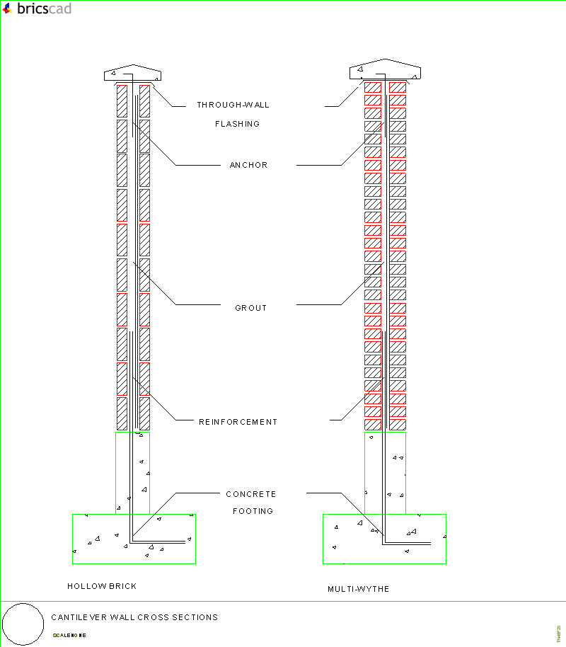 cantilever wall cross section  aia cad details