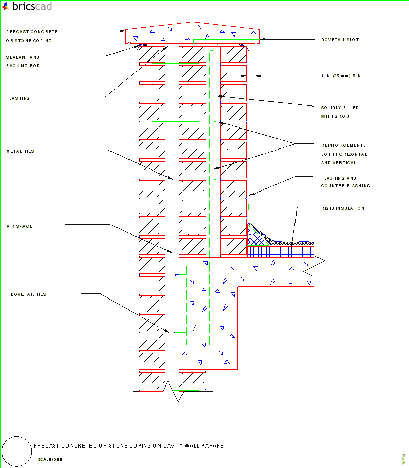 Precast Wall Details : Precast concrete or stone coping on cavity wall parapet