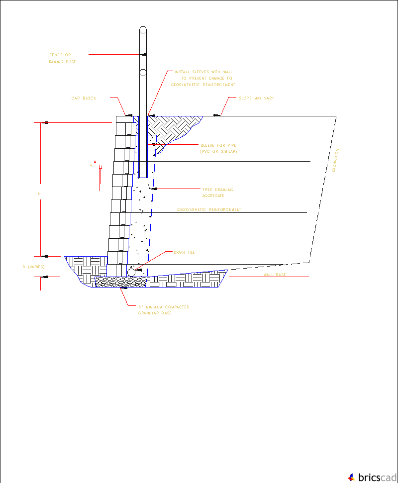 Anchor Vertica Railing Or Fence Wall Section Aia Cad