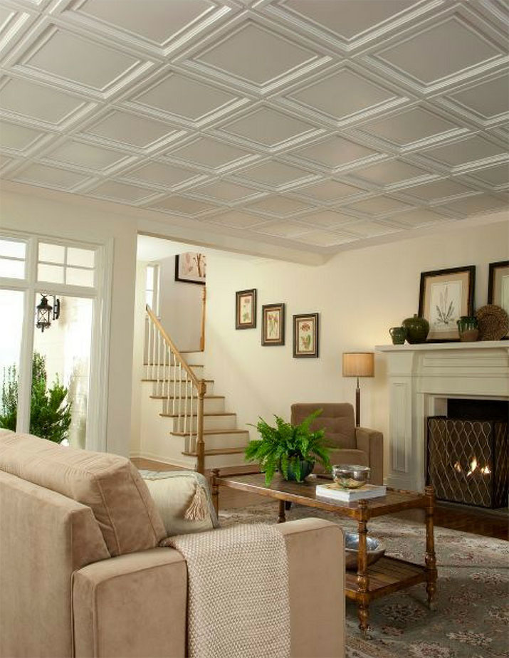 2 foot by 2 foot dimensional ceiling panels for a luxury coffered ceiling look | Innovate Building Solutions