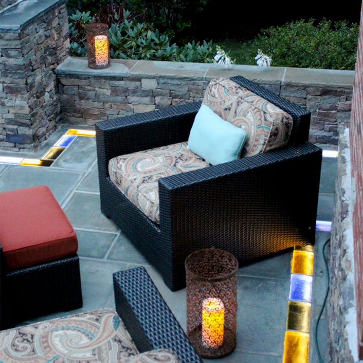 Colored glass brick for patio | Innovate Building Solutions