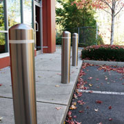 A modern look for steel-and-concrete security posts