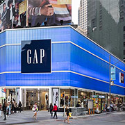 Blue polycarbonate translucent wall system for Gap in Times Square NYC