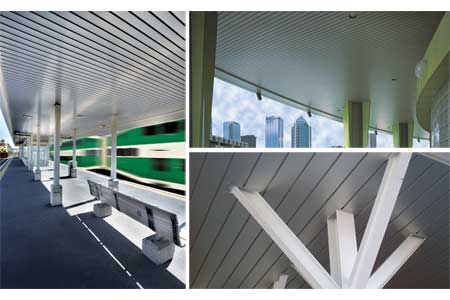AECinfo.com News: Chicago Metallic Offers Visual Continuity From Interior  Spaces To Exterior Soffits With Linear Metal Ceiling Systems