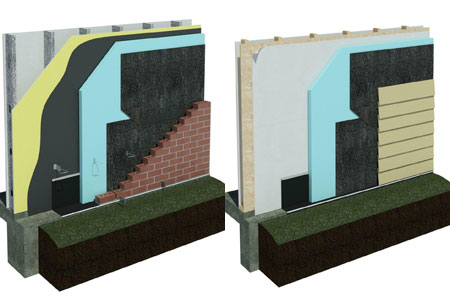 LEFT: DriPlane Metal Stud Wall with Brick Veneer; RIGHT: DriPlane Wood Stud Wall with Cement Lap Siding