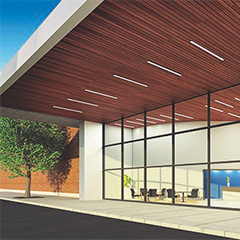 Extend wood ceiling designs outdoors with new WoodWorks® linear exterior solid wood panels from Armstrong Ceilings