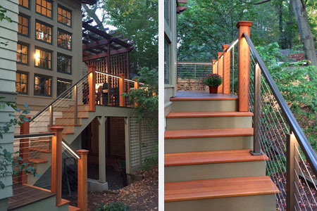 Wood Designrail With Led Lighting On Stairs Deck Railing 1st Place Winner