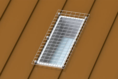 Flat Skylight Defender for Standing Seam Roofs