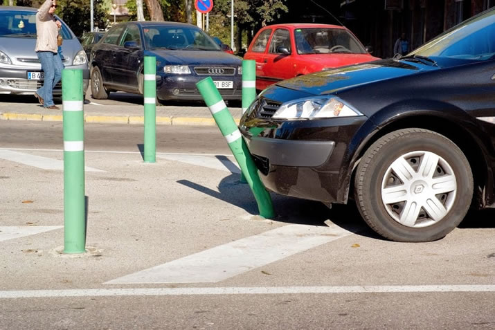 Flexible bollards guide traffic while avoiding costly collision damage and repairs