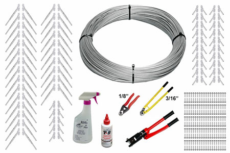 Full Surface Mount Cable Railing Kit - 1000ft. Stainless Steel Cable, End Fittings, & Tools