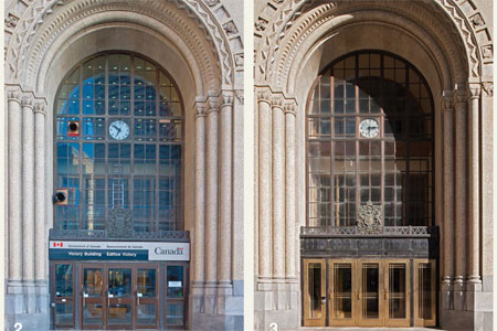 """Before and After"" view of the entire front façade, with doors replaced and bronze area above the doors cleaned and polished."