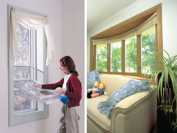 White double hung vinyl replacement window tilts in for easy cleaning; Bow woodgrain window in a family room add light & seating