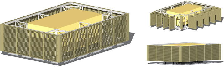 All louvered panels open for full access to the air handling unit. Sight proof from horizontal and below.