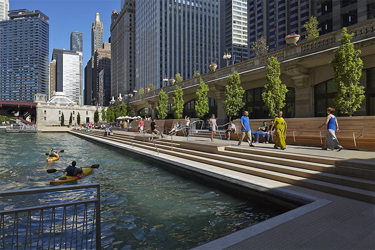 The Chicago Riverwalk, recipient of the 2018 AIA Regional & Urban Design Award, is an accessible public space for residents and visitors alike. Photo credit: Kate Joyce Studios.
