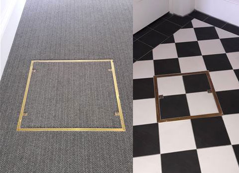Floor access covers at Lews Castle - the Isle of Lewis