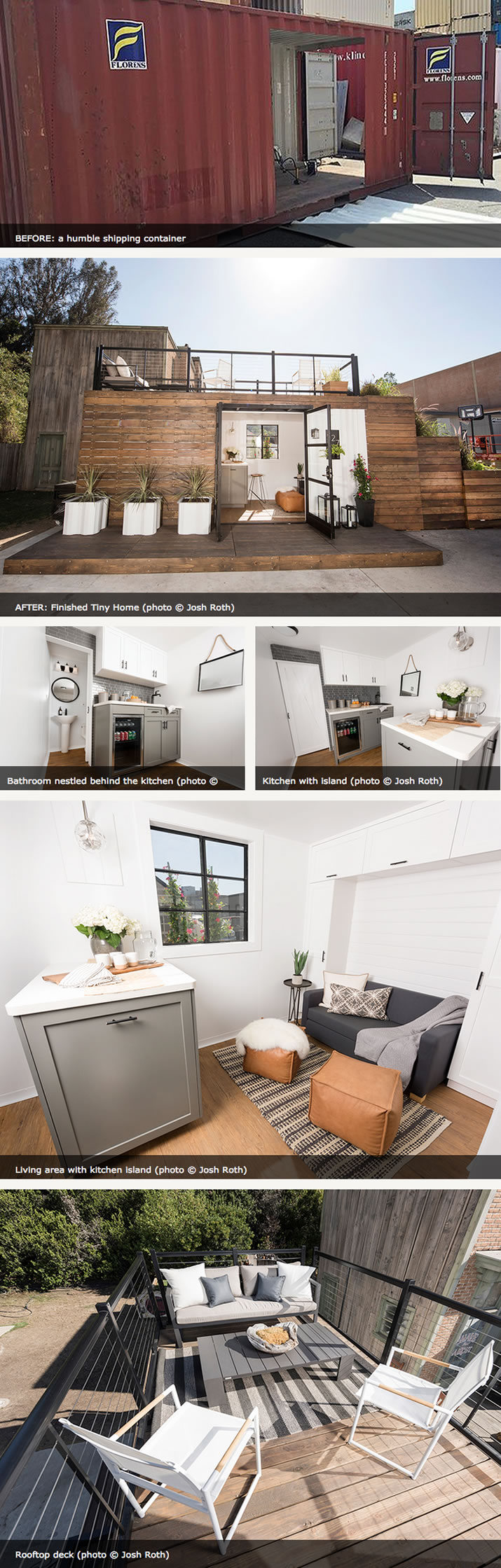 Kelly Edwards' Tiny Home: Shipping container turned elegant living space with rooftop deck