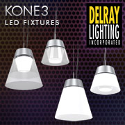 KONE3 Decorative Glass LED Pendant & Semi-Recessed Fixtures