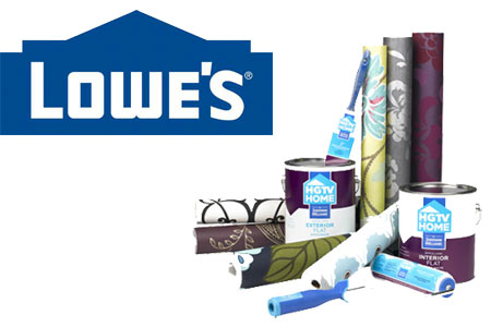 The HGTV Home by Sherwin-Williams brand paint is distributed through Lowe's