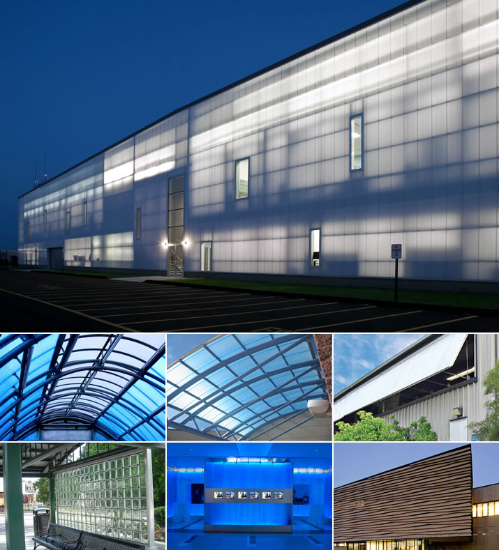 Translucent Walls, Skylights, Canopies, Windows, Mortarless glass block, Interiors, Custom Facades, Porcelain Systems