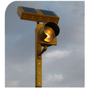 Mark warning and stop signs with Carmanah's 24-hour flashing Beacons