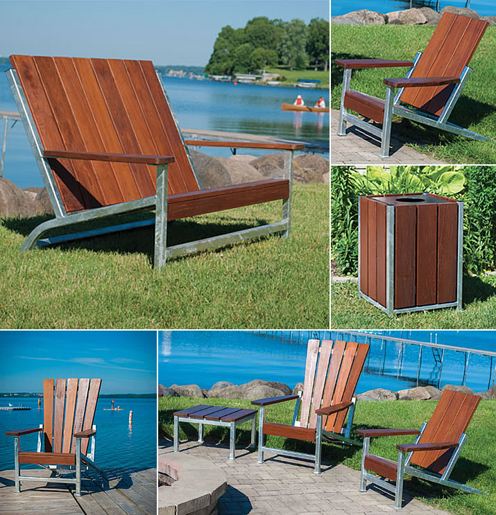 New from Thomas Steele: Monona benches, chairs, side tables and litter receptables