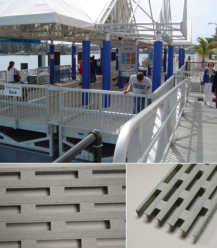 Slip resistant plank provides an ideal surface for docks and decks.