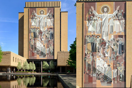 Touchdown Jesus stands tall behind Notre Dame Stadium. (Courtesy of University of Notre Dame)