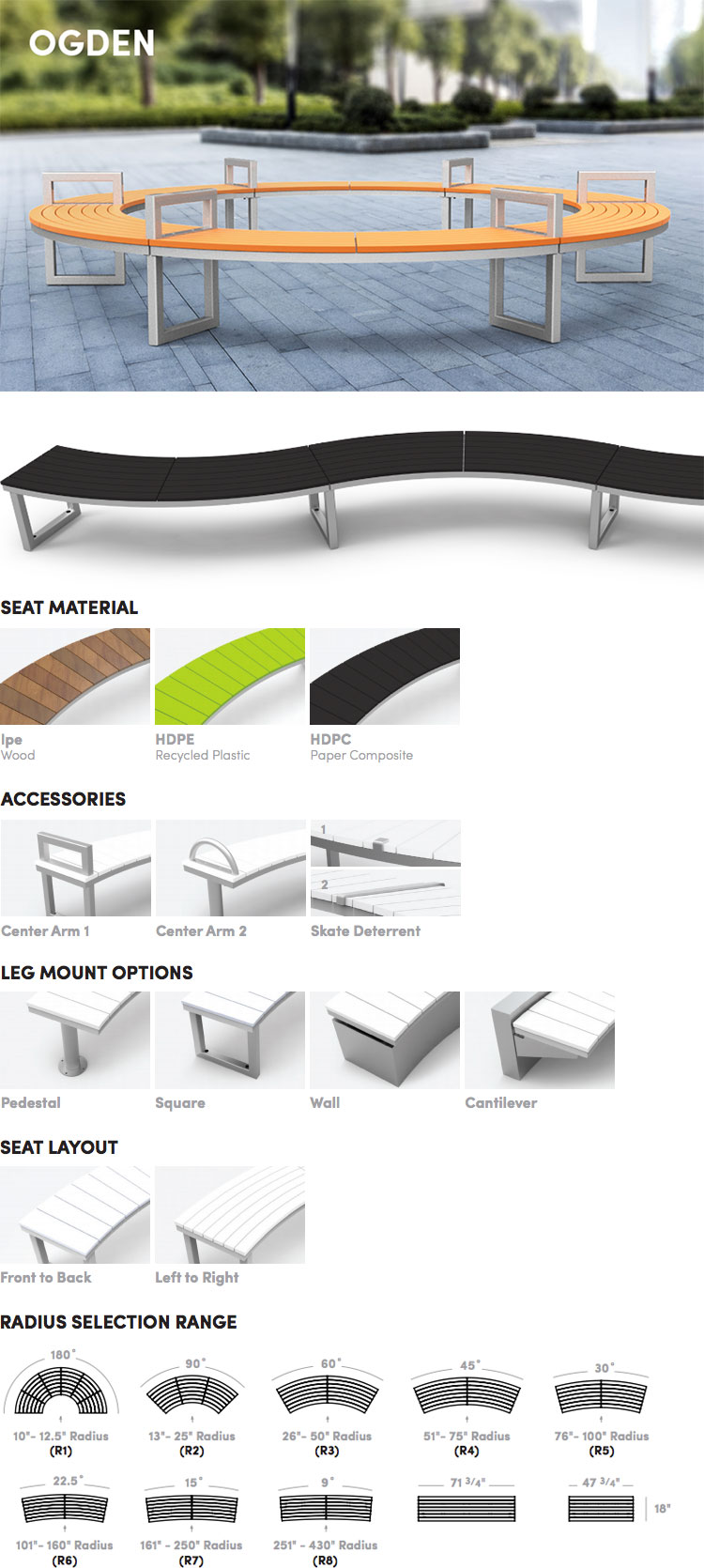 Ogden by Maglin Site Furniture offers flexible straight, curved or circular bench options to suit any style