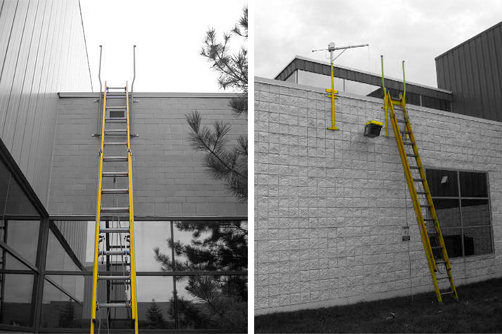 Permanent building mounted ladder receivers