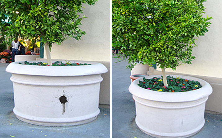 Resin planters and lampposts: easy to maintain and graffiti resistant