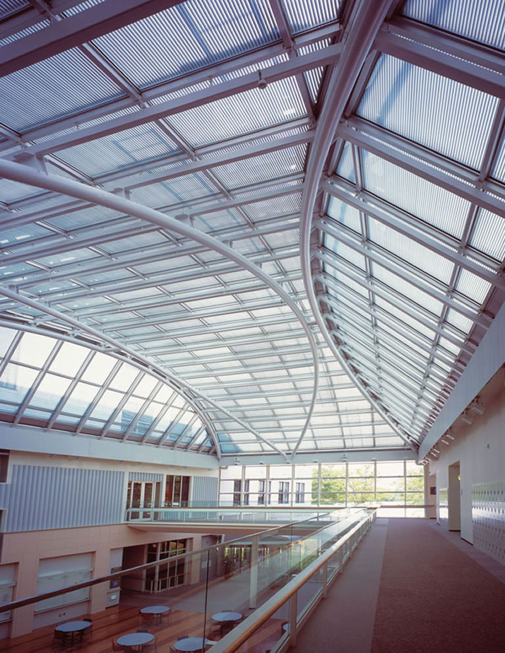 Vision Control louvers, shown here in a skylight at Ohzuma Gakuen University in Tokyo, Japan, are adjustable blinds sealed within the glazing units. Photo: Unicel Architectural Corp.