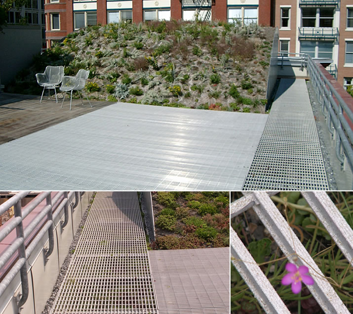Slip Resistant Aluminum Grating Utilized on ASLA Green Roof