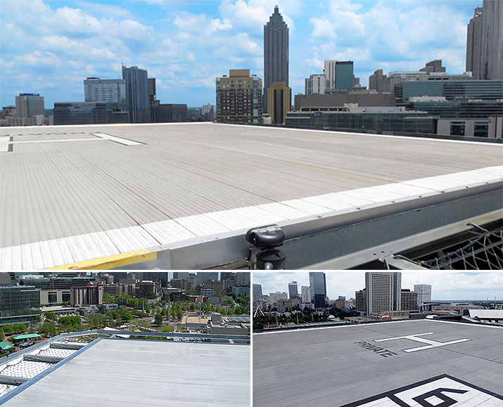 Slip resistant aluminum plank installed on Hilton's helipad