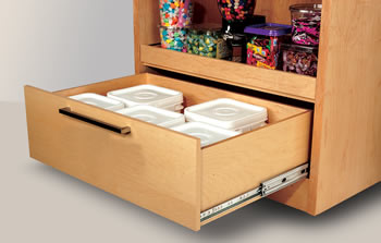 Wider drawer applications to accommodate dry goods and cookware