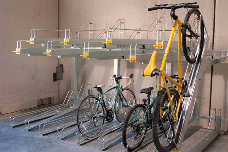 Spacing bike storage racks