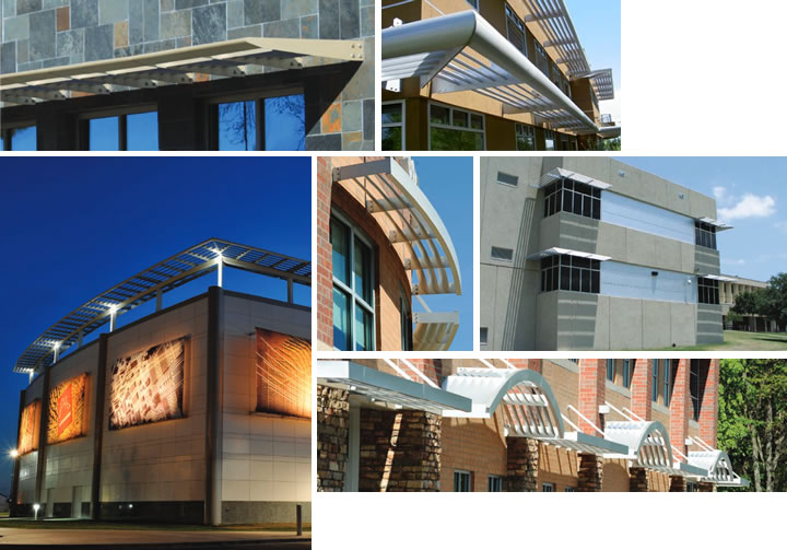 Sunshades provide aesthetic appeal to the building exterior