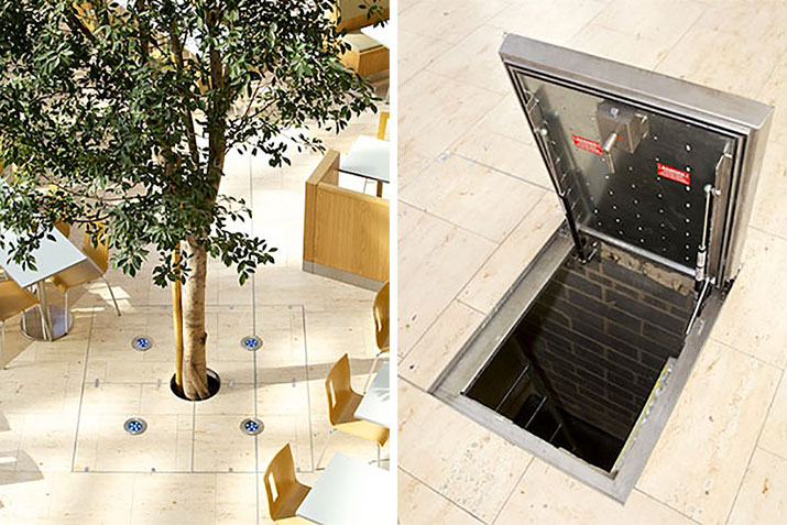 Tree grilles and floor access covers at The Wintergarden